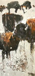 "Buffalo with Snow, mixed media on canvas, 32"" X 67"", 2009, $4200"